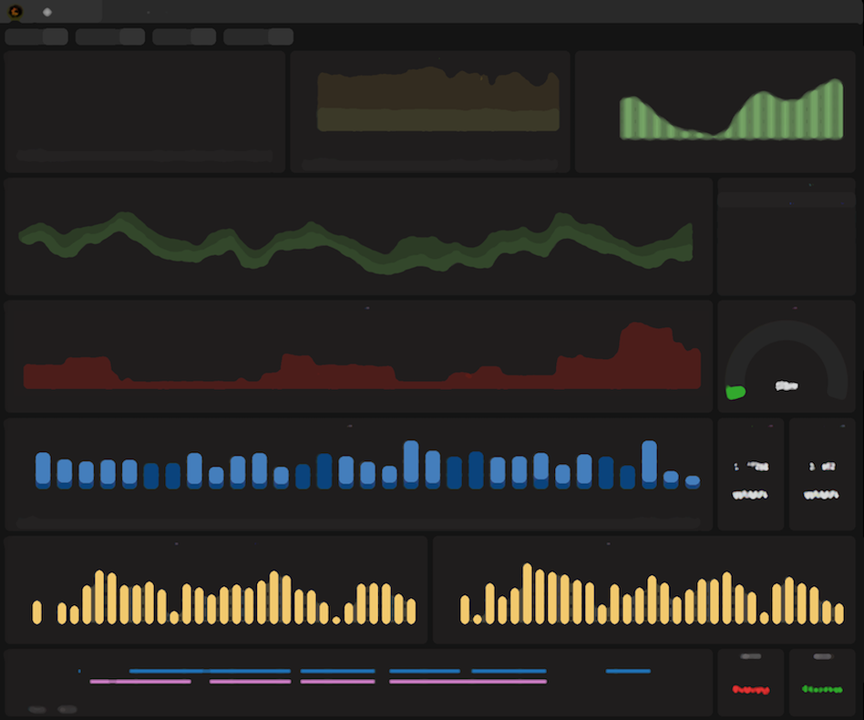 a stylized screenshot of a Grafana dashboard